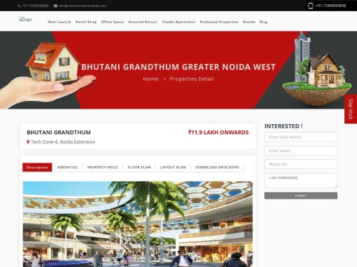 Buy Commercial office spaces and Retail shops Bhutani Grandthum.