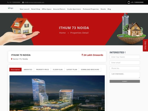 Buy Office Spaces, Retail Shops in Bhutani Ithum at Sector-73 Noida.