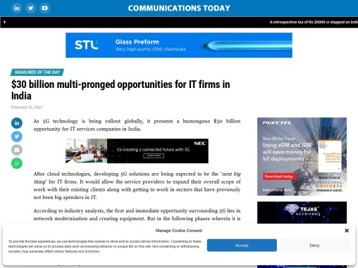 $30 billion multi-pronged opportunities for IT firms in India