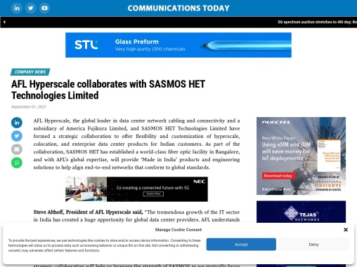 AFL Hyperscale collaborates with SASMOS HET Technologies Limited