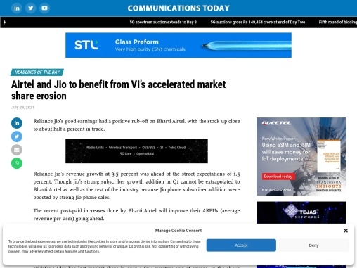 Airtel and Jio to benefit from Vi's accelerated market share erosion