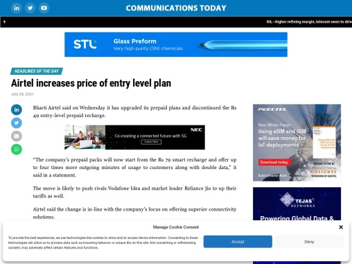 Airtel increases price of entry level plan