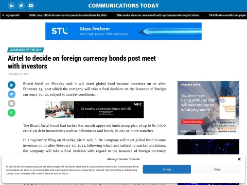Airtel to decide on foreign currency bonds post meet with investors