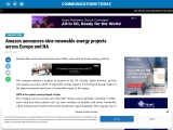 Amazon announces nine renewable energy projects across Europe and NA