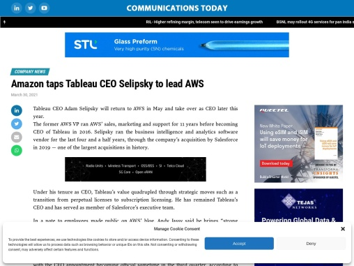 Amazon taps Tableau CEO Selipsky to lead AWS
