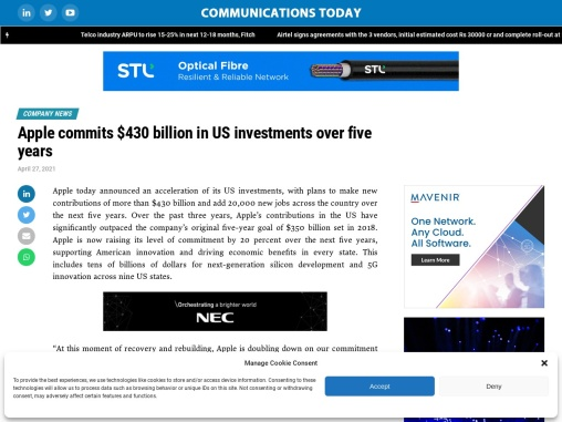 Apple commits $430 billion in US investments over five years