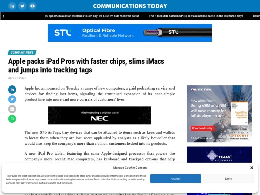 Apple packs iPad Pros with faster chips, slims iMacs and jumps into tracking tags