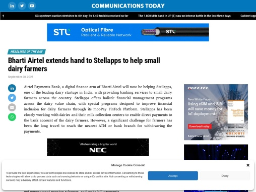 Bharti Airtel extends hand to Stellapps to help small dairy farmers