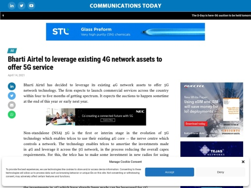 Bharti Airtel to leverage existing 4G network assets to offer 5G service