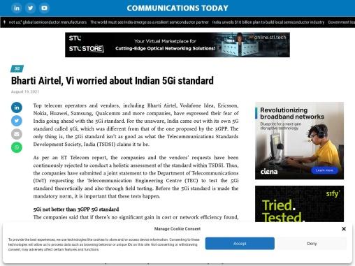 Bharti Airtel, Vi worried about Indian 5Gi standard