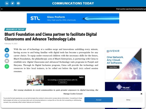 Bharti Foundation and Ciena partner to facilitate Digital Classrooms and Advance Technology Labs