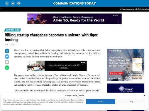 Billing startup chargebee becomes a unicorn with tiger funding
