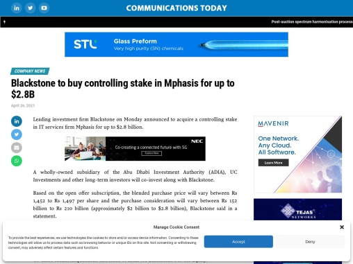 Blackstone to buy controlling stake in Mphasis for up to $2.8B