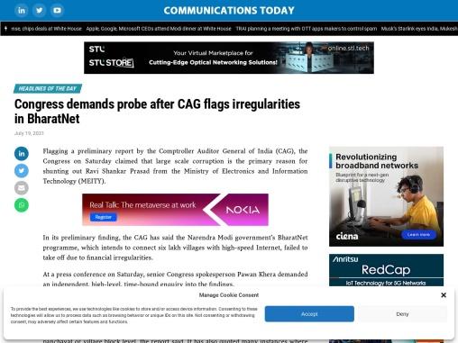 Congress demands probe after CAG flags irregularities in BharatNet