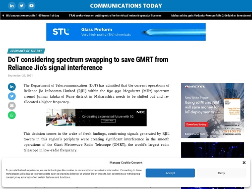 DoT considering spectrum swapping to save GMRT from Reliance Jio's signal interference