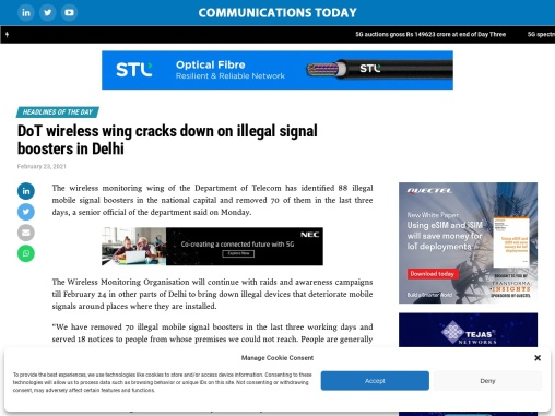 DoT wireless wing cracks down on illegal signal boosters in Delhi