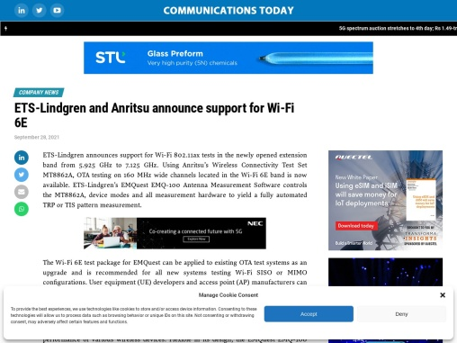 ETS-Lindgren and Anritsu announce support for Wi-Fi 6E