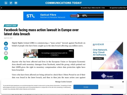 Facebook facing mass action lawsuit in Europe over latest data breach