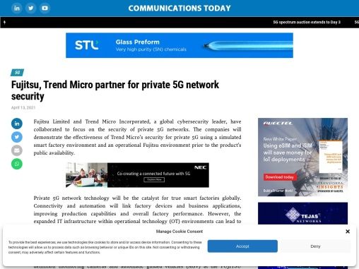Fujitsu, Trend Micro partner for private 5G network security
