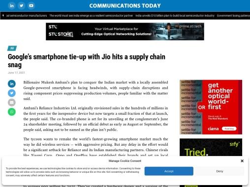 Google's smartphone tie-up with Ambani hits a supply Chain Snag