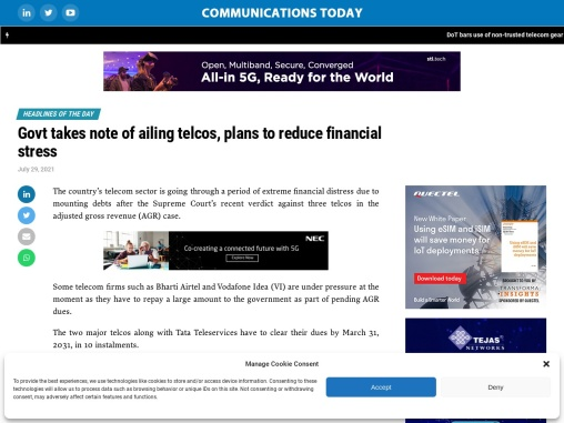 Govt takes note of ailing telcos, plans to reduce financial stress