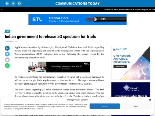 Indian government to release 5G spectrum for trials