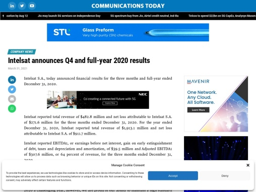 Intelsat announces Q4 and full-year 2020 results