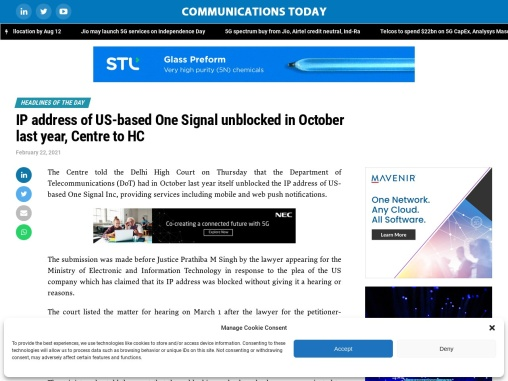 IP address of US-based One Signal unblocked in October last year, Centre to HC