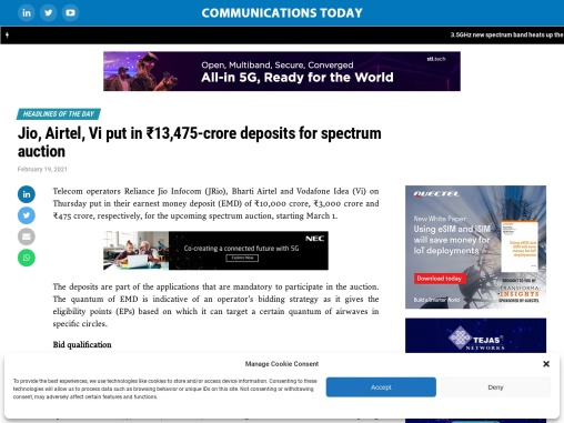 Jio, Airtel, Vi put in ₹13,475-crore deposits for spectrum auction