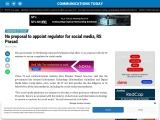 No proposal to appoint regulator for social media, RS Prasad