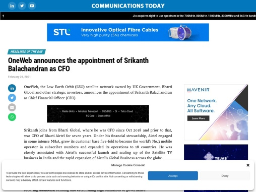 OneWeb announces the appointment of Srikanth Balachandran as CFO