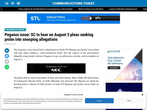 Pegasus issue: SC to hear on August 5 pleas seeking probe into snooping allegations