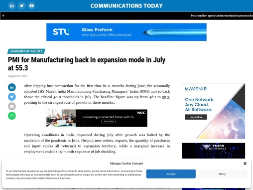 PMI for Manufacturing back in expansion mode in July at 55.3