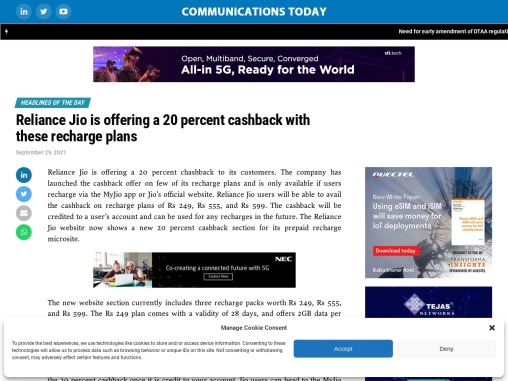 Reliance Jio is offering a 20 percent cashback with these recharge plans