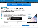 RJio signs definitive agreement with Bharti Airtel for trading of right to use spectrum in the 800MH