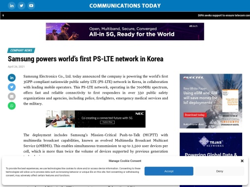 Samsung powers world's first PS-LTE network in Korea