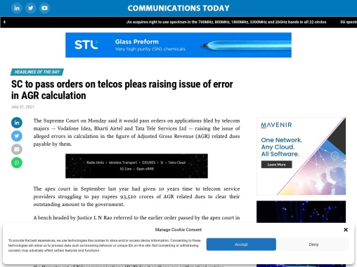SC to pass orders on telcos pleas raising issue of error in AGR calculation