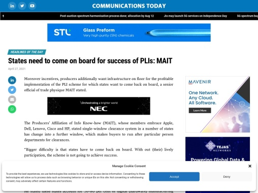 States need to come on board for success of PLIs: MAIT