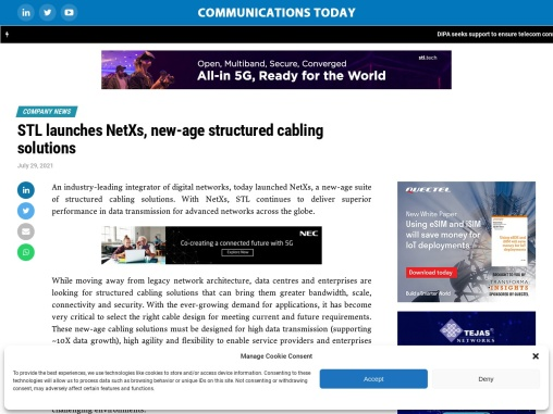 """""""STL launches NetXs, new-age structured cabling solutions   """""""