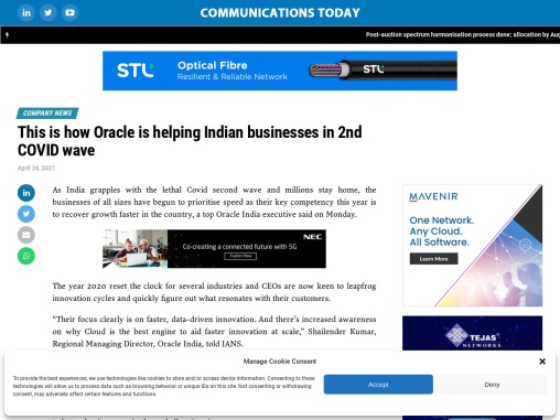 This is how Oracle is helping Indian businesses in 2nd COVID wave