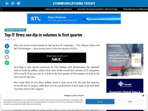Top IT firms see dip in volumes in first quarter
