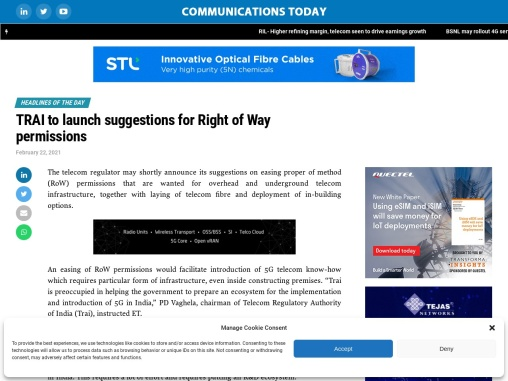 TRAI to launch suggestions for Right of Way permissions