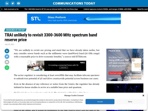 TRAI unlikely to revisit 3300-3600 MHz spectrum band reserve price