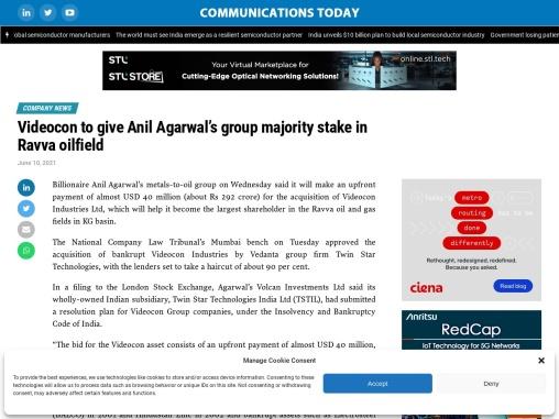 Videocon to give Anil Agarwal's group majority stake in Ravva oilfield