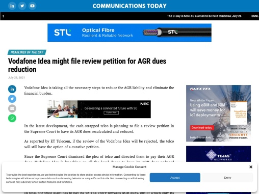 Vodafone Idea might file review petition for AGR dues reduction