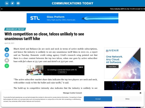 With competition so close, telcos unlikely to see unanimous tariff hike