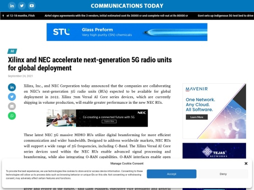 Xilinx and NEC accelerate next-generation 5G radio units for global deployment