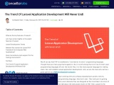 The Trend Of Laravel Application Development Will Never End!