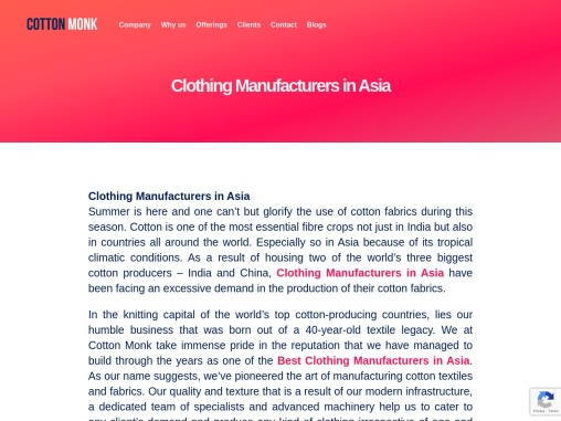 Clothing manufacturers in asia