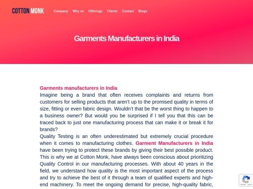 Garment manufacturers in india